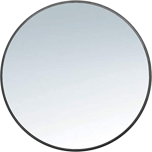 Modern Round Brushed Metal Mirror – Gold Black – Hanging Bathroom Vanity – Crystal Clear – Large Bedroom Decor – Mid-Century Modern – Unique Minimalistic Mirror – 3 Sizes Black, Small 24 60cmm