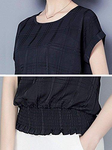 [パリド] 半袖 シフォン ブラウス 体型 カバー 大きいサイズ 春 夏 S ~ 3XL レディース