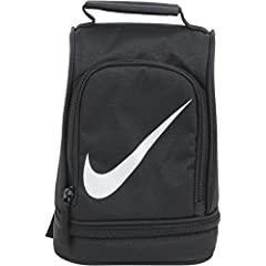 "Insulated upright lunchbox from Nike. Nike lunchbox Ripstop construction Insulated storage Paneled design with 2 zipper openings Sits upright Carry handle 9"" x 6"" x 5"" Imported"