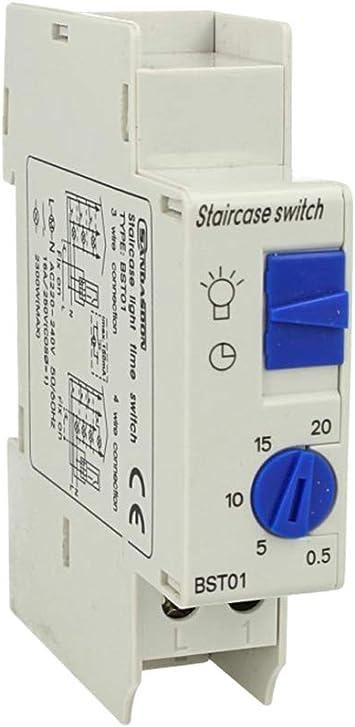 Sandasdson SD-BST01 Interruptor Temporizador Luces Escalera Electrónica para Barra DIN 1M 16A: Amazon.es: Bricolaje y herramientas