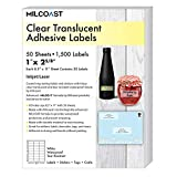 Milcoast Glossy Clear Translucent Waterproof Tear Resistant Address Labels 1' x 2-5/8' - 50 Sheets