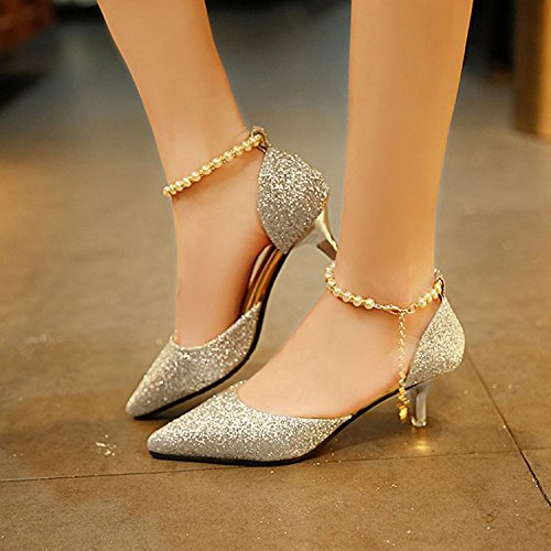 Ladies Heel Heels Strap High Silver Pointed Single Pearl Shallow With Low Shoes Shoes Women's Mouth Gold wYXOYP