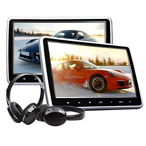 Eonon Headrest Monitors 10.1 Inch Portable DVD Player for Kids Headrest Monitor Car Digital Touch Screen Headrest DVD Player Digital Touch Button HDMI USB SD Port (Two Headrests-Black)-C1100A