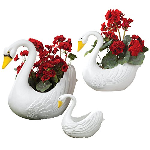 Planter Lawn (Fox Valley Traders Classic Indoor/Outdoor White Swan Planters, Home Garden Décor, 3 Piece Set)