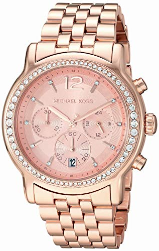 Michael Kors Women's Baisley Quartz Watch with Stainless-Steel-Plated Strap, Rose Gold, 22 (Model: MK5983)