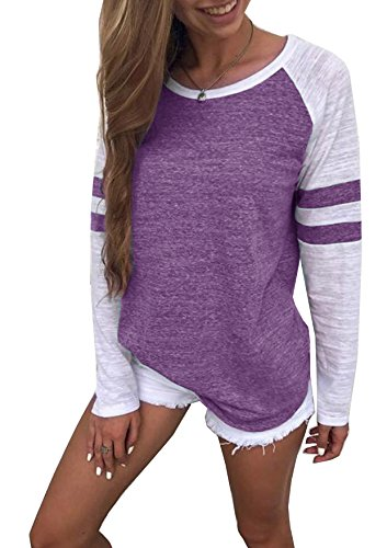 Yidarton Women's Color Block Long Sleeve T Shirt Casual Round Neck Tunic Tops(Purple,XXL)