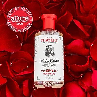 THAYERS Alcohol-Free Witch Hazel Facial Toner with Aloe Vera Formula, Rose Petal, 12 Fl Oz