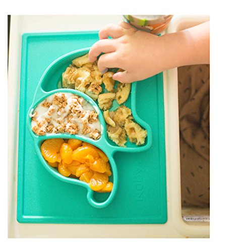 Nuby Sure Grip Elephant Silicone Placemat, Aqua