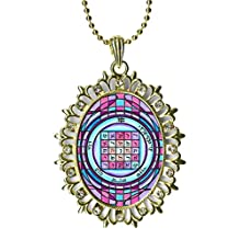 Solomons 2nd Seal Saturn for Business, Hiring, Contracts Huge Light Gold Medallion Rhinestone Pendant