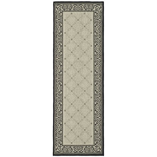 Safavieh Courtyard Collection CY1502-3901 Sand and Black Indoor/ Outdoor Runner (2'4