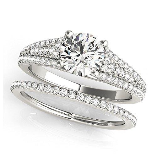 14K White Gold Unique Wedding Diamond Bridal Set Style MT50954