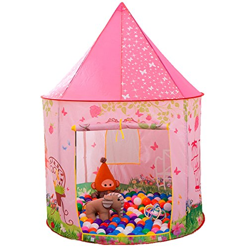 Anyshock Kids Tent, Princess Castle Play Tent Girls Pop Up Baby Toys Dollhouse Outdoor and Indoor Playhouse Tent for 1-8 Years Old Kids Boy Toddler Infant (No LED Light,Princess Pink) - Magical Adventure Room