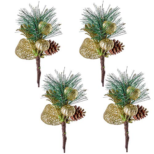 TINGOR 4 Pack Gold Glitter Christmas Picks with Artificial Pine Cone and Leaves for Christmas Flower Arrangements Wreaths and Holiday Decorations - Gold Pine Wreaths