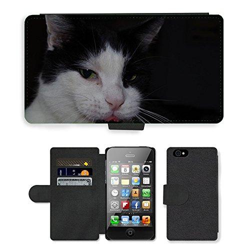 Just Phone Cases PU Leather Flip Custodia Protettiva Case Cover per // M00128189 Langue de chat félin joli contenu // Apple iPhone 4 4S 4G