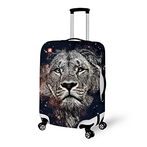 Travel Luggage Protector, High Elasticity Zipper Luggage Suitcase Cover, Dustproof Removing-Free Baggage Protector bag - Fits 18-28 Inch Luggage (King Lion Galaxy -