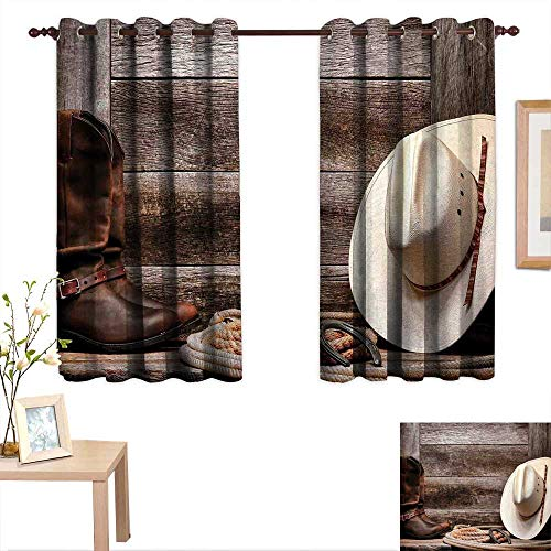 Western Decor Customized Curtains American West Rodeo White Straw Cowboy Hat with Lariat Leather Boots on Rustic Barn Wood 55