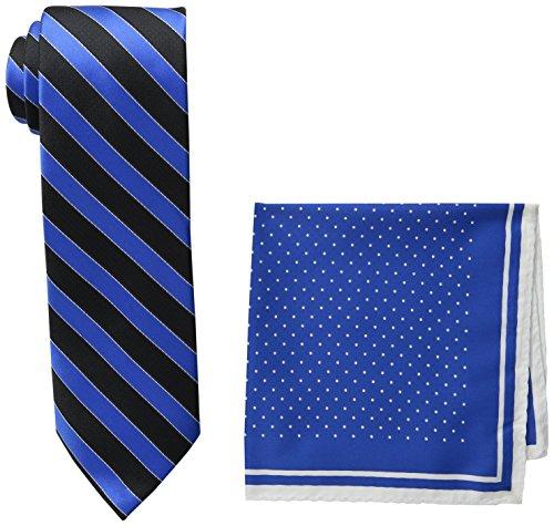 [Steve Harvey Men's Satin Stripe Woven Necktie and Dot Pocket Square, Black, One Size] (Steve Stripe)