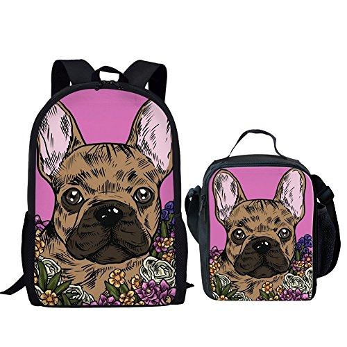 HUGS IDEA Animals School Bag Set Floral Dog Print Backpack Bookbag with Lunch Box