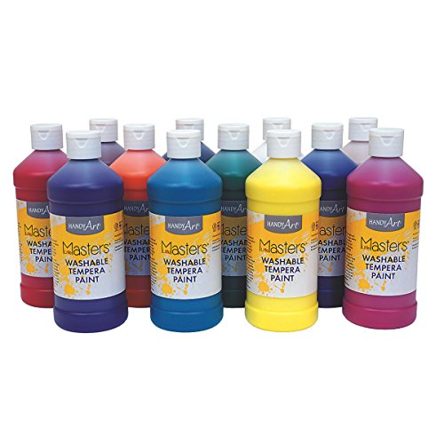 Handy Art Little Masters Washable Tempera Paint Assortment, 16oz (set of 12) (Assortment Tempera Paint)