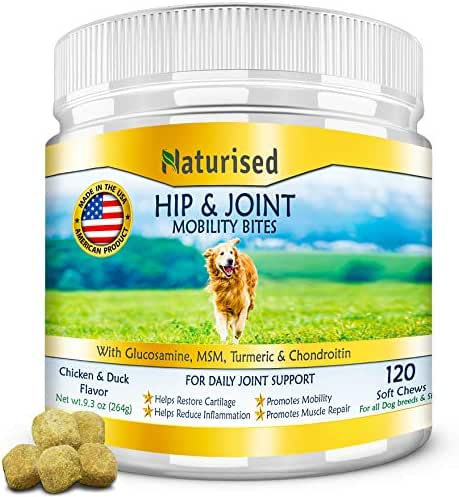 Naturised Glucosamine for Dogs, Hip & Joint Soft Chews with Chondroitin, MSM, Organic Turmeric powder & Multivitamins; Inflammatory Support; Daily Pet Pain Relief Treats for all Breeds Made in the USA