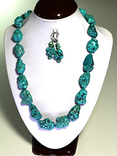 Turquoise Nugget Set - Handmade Geniune Natural Turquoise Nugget Necklace 19 inches Free Earrings Set