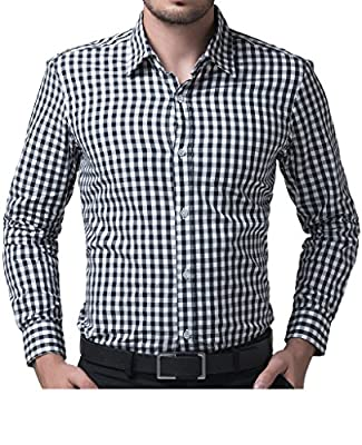CIC Collection Mens Cotton Casual Plaid Dress Shirts ( Order 2 Size up )