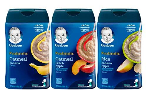 Gerber Baby Cereal 3 Flavor Variety Bundle: (1) Gerber Oatmeal & Banana Cereal, (1) Gerber Oatmeal & Peach Apple Cereal, and (1) Gerber Rice & Banana Apple Cereal, 8 Oz. Ea. (3 containers 8 Oz. Ea.)