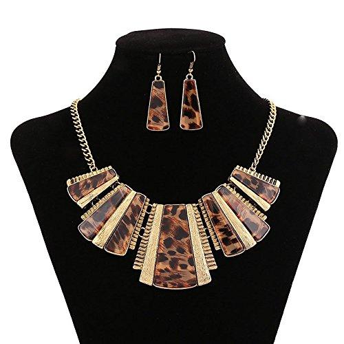 [KOREA-JIAEN Coat Chain and Earrings Set Trendy Bohemian Silver Necklace Acrylic Leopard Print Tribe Statement Necklace and Earrings Sets for Women (Leopard] (Custom Costumes Jewelry Wholesale)