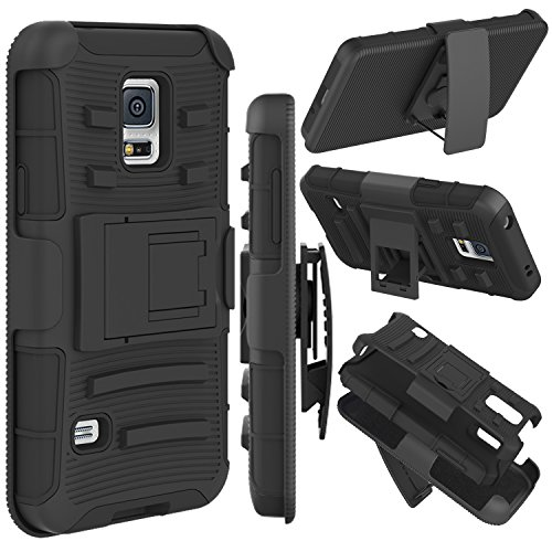c(TM) Hybrid Dual Layer Armor Defender Full-body Protective Case Cover with Kickstand & Belt Clip Holster Combo for Samsung Galaxy S5 i9600 Case (Black) ()
