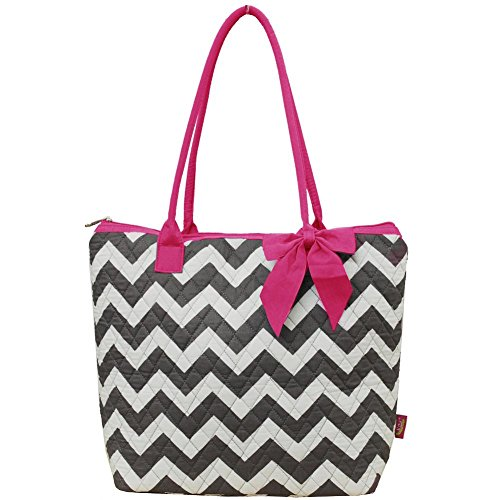 Ngil Quilted Cotton Medium Tote Bag 3 (Chevron Grey Hot Pink) ()
