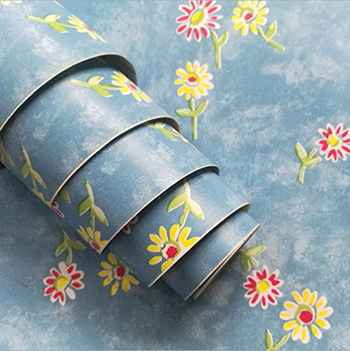 Teemall Blue daisy Contact Paper Decorative Shelf Drawer Liner Self-Adhesive Door Sticker 17.7 Inch By 9.8 ()