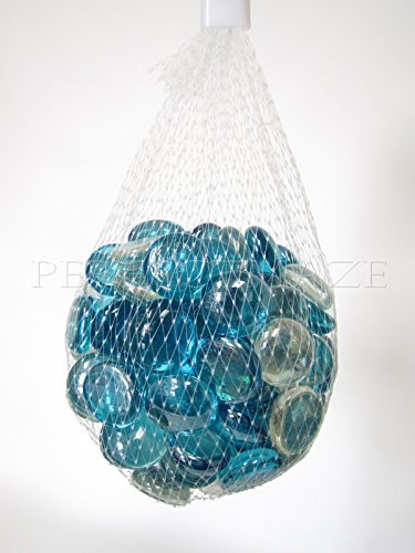 Perfectmaze Flat Clear Marbles, Pebbles for Vase Filler, Table Scatter, Aquarium Decor, Gravel Accents (5 lbs, Turquoise/Clear Mix)