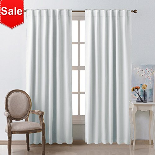 NICETOWN Living Room Darkening Curtain Drapes - (Greyish White) W52 x L84, Set of 2, Room Darkening...