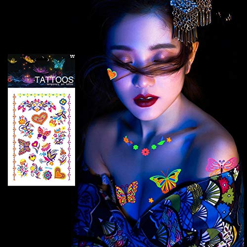 SaveStore 1 Sheet Luminous Temporary Tattoos Stickers Glow Dark Fluorescent Waterproof Butterfly Tattoo for Face Body Art Halloween Party