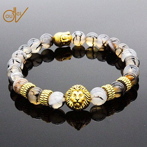 ERAWAN Men's Natural Black Lava Stone Bead Gold Lion Buddha Beaded Charm Bracelet 8mm EW sakcharn