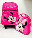 Disney Minnie Mouse Rolling Backpack with Detachable Wheeled Trolley- 16'' Large PINK & Disney Minnie Mouse Lunch Box Bag with Shoulder Strap and Water Bottle - PINK