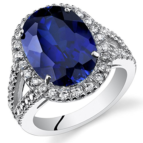 8.50 Carats Created Blue Sapphire Engagement Ring Sterling Silver Size 7