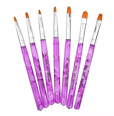 Doyeemei Juego de 7 Pinceles Pintauñas UV Gel parara Decorar Uñas Nail Art Decoration: Amazon.es: Bricolaje y herramientas
