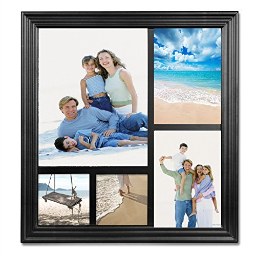 WOLTU Puzzle Collage Picture Frame Decorative Wall Hanging Black Wood Photo Frame with Plexiglass Cover,5 Openings, 4x4