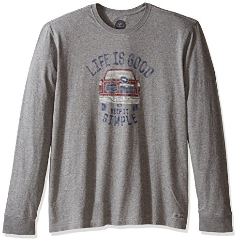 Tailgate Tee (Life is good Men's Simple Tailgate Crusher Long Sleeve Tee, Heather Gray, Medium)