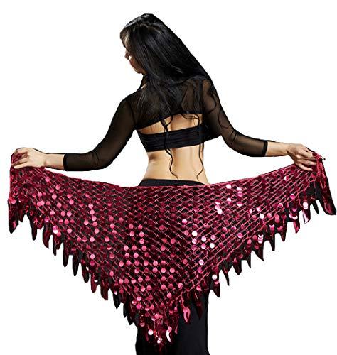 Lauthen.S Women Belly Dance Hip Scarf Sequins Mesh Triangle Wrap Skirt Waist Chain