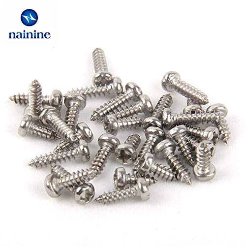 Mercury_Group Fasteners, [M1 M1.2 M1.4 M1.7 M2] 100Pcs PA Screws Nickel-Plated Pan Head Screws Self-Tapping Electronic Small - (Size:M1.7X4)