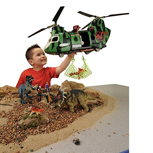 CP Toys 32 pc Dinosaur Research Playset with 4 Action Figures, Helicopter and Accessories