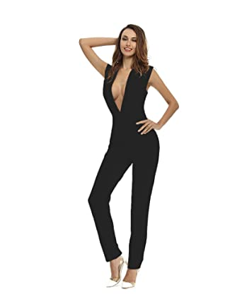 96a926b1187c Whoinshop Women s Sexy Deep V Neck Jumpsuit Stretch Bodycon Party Romper  Pants black XS