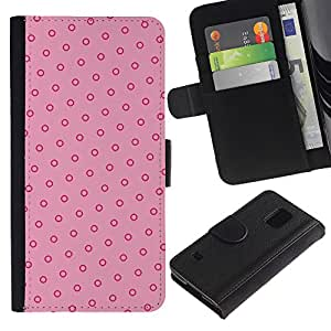 Planetar® Modelo colorido cuero carpeta tirón caso cubierta piel Holster Funda protección Samsung Galaxy S5 V SM-G900 ( Polka Dot Pink Red Vintage Wallpaper )