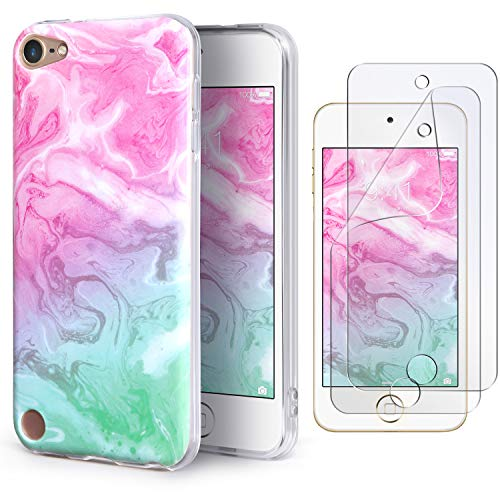 IDWELL iPod Touch Case with 2 Screen Protectors, iPod Touch 7 Touch 6 Touch 5 Case, Slim FIT Anti-Scratch Flexible Soft TPU Bumper Protective Case (Latest Model,2019 Released), Coloful Marble]()