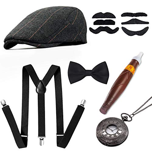 1920s Men Accessories Gatsby Gangster Costume Accessories Set Newsboy Flat Hat Y-Back SuspendersTied Bow Cigar Mustache Vintage Pocket Watch Grey -