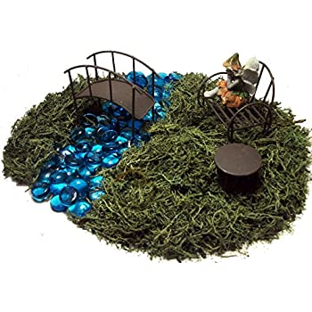 Fairy Garden Kit   Includes Fairy, Bench, Table, Bridge, Blue Glass Stones