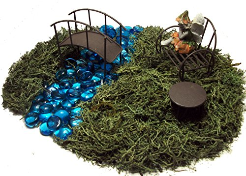 Fairy Garden Kit - Includes Fairy, Bench, Table, Bridge, Blue Glass Stones, Moss and Instructions