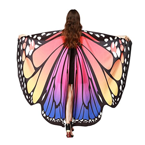 Livoty Kid Baby Girl/Adult Butterfly Wings Shawl Scarves Nymph Pixie Poncho Costume Accessory (Adult# Hot Pink) -